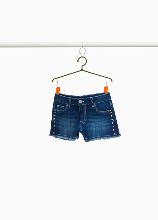 Stretch denim shorts with studs