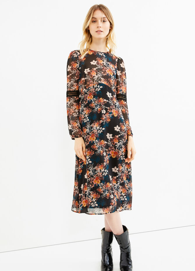 Lined dress with flower print