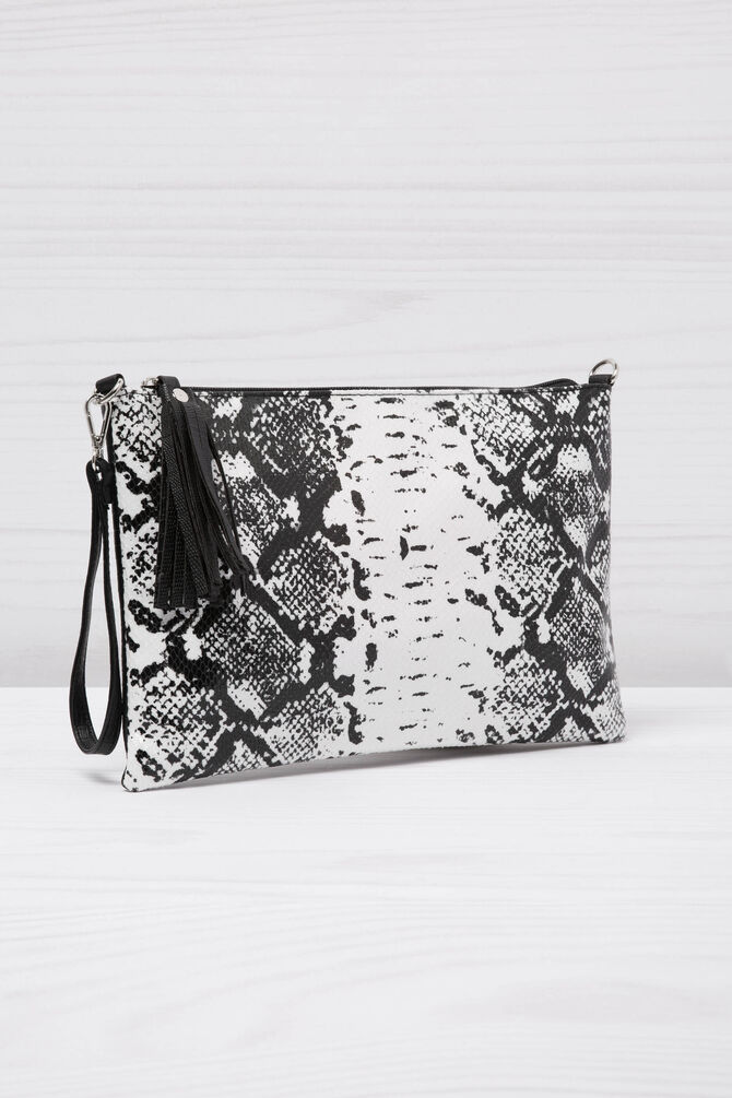 Clutch bag with snakeskin look shoulder strap