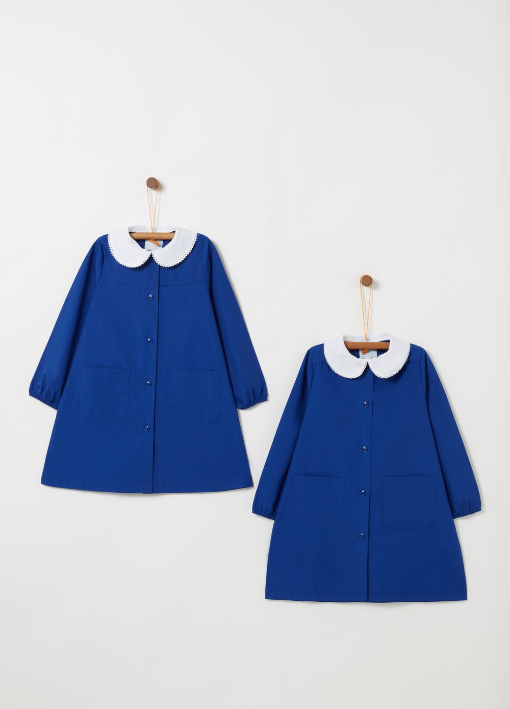 Two-pack solid colour smocks with pockets