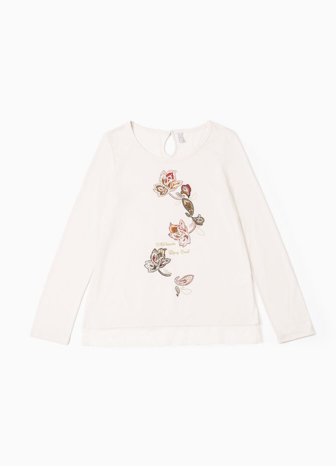 Pyjama top with lace and print