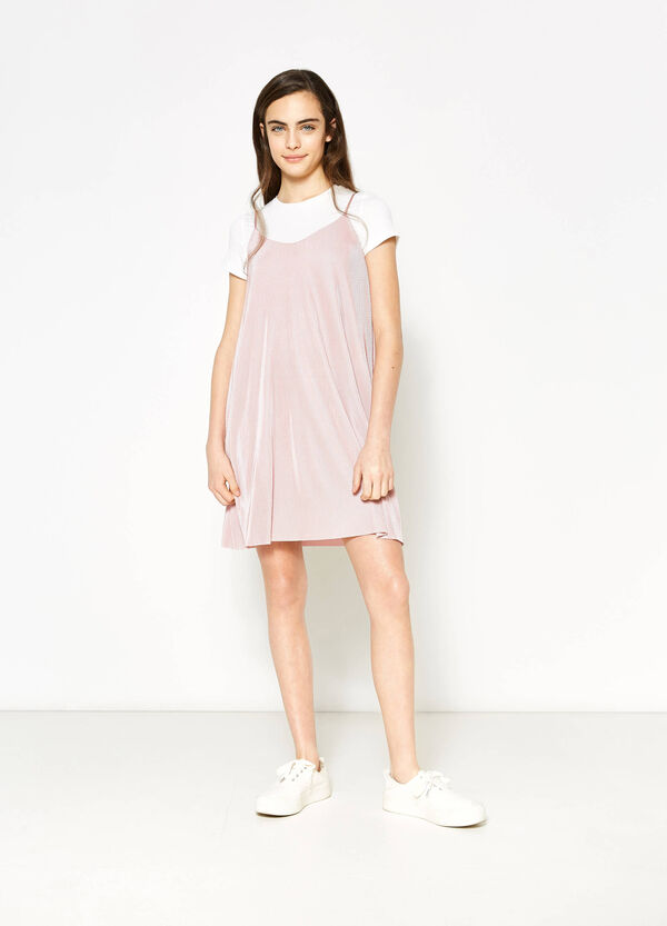 Teen pleated dress with faux layer | OVS