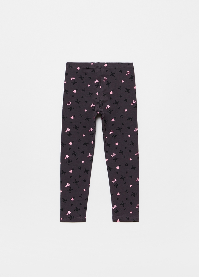 Leggings stampa teschi e cuori all-over image number null