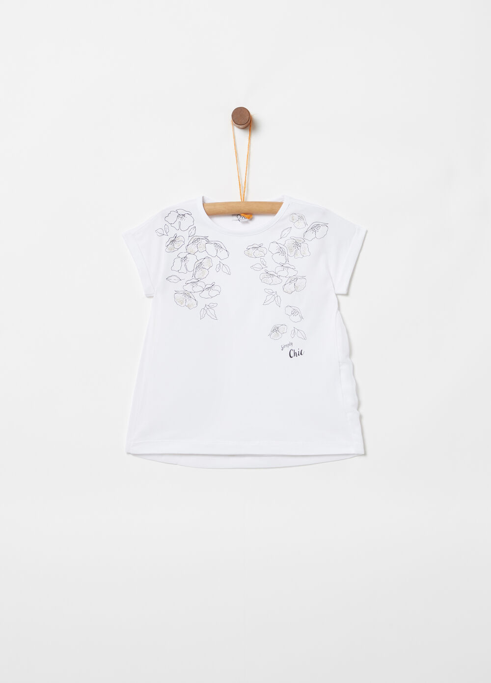 T-shirt with diamantés and flowers print