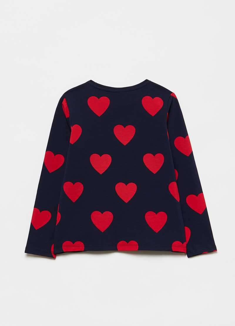 Cotton T-shirt with hearts pattern image number null