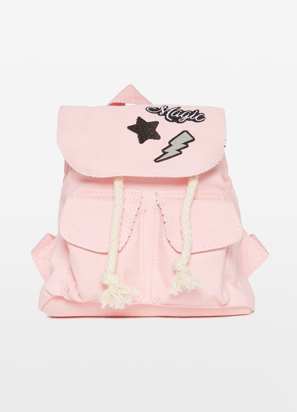Cotton backpack with embroidery and glitter patch