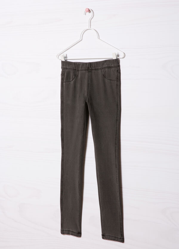 Solid colour stretch jeggings | OVS