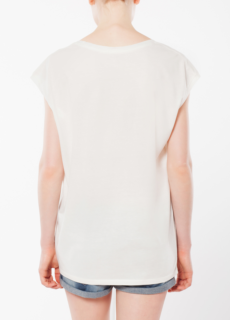 T-shirt smanicata con trasparenze image number null