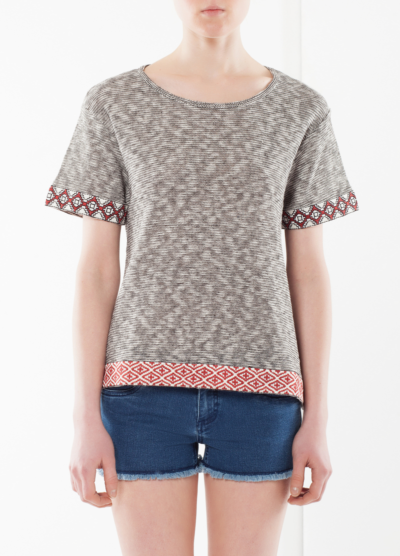 T-shirt with geometric bands image number null