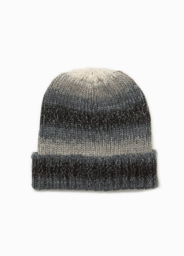 Striped beanie cap with fold