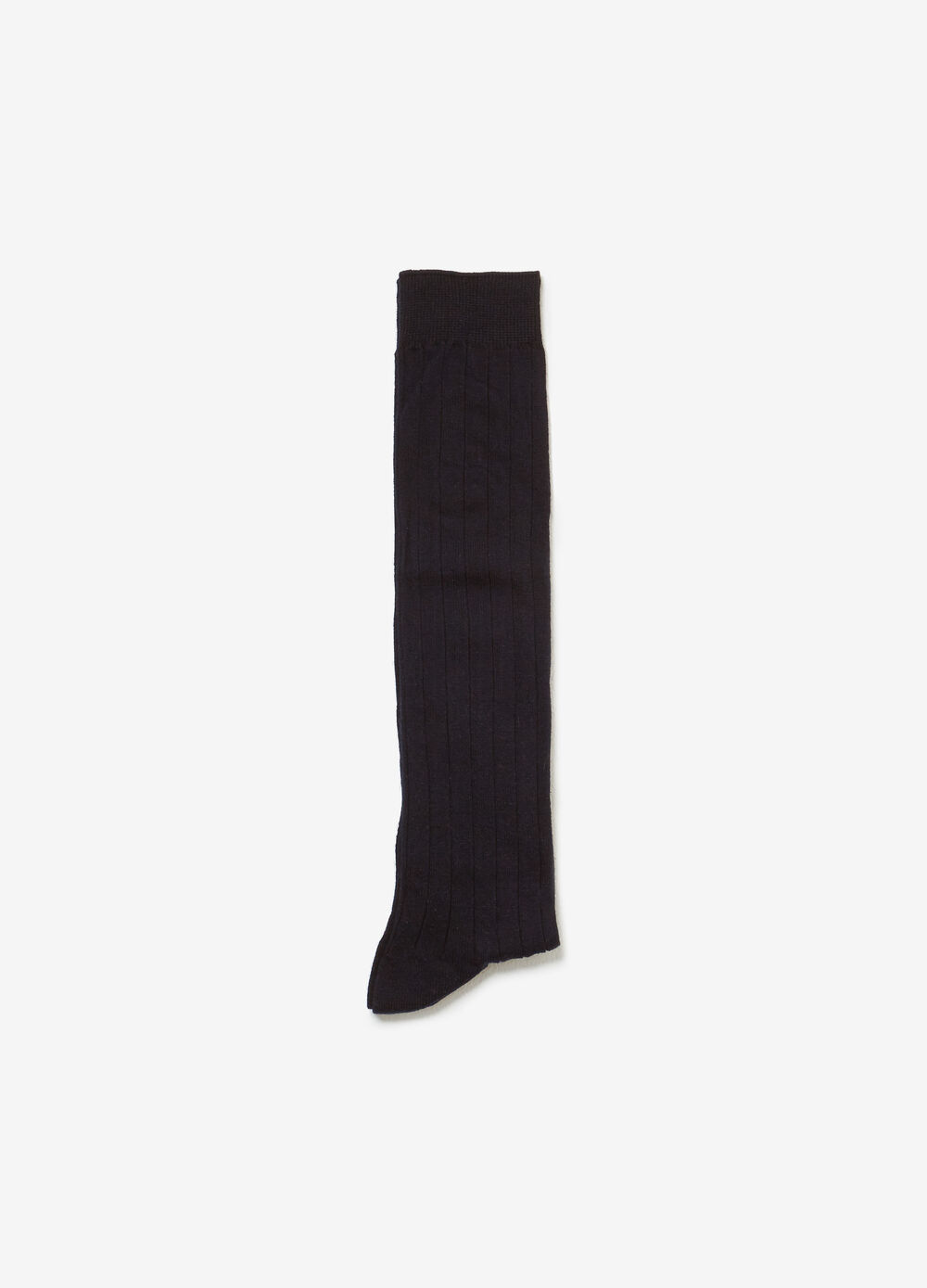 Long cotton socks with striped weave