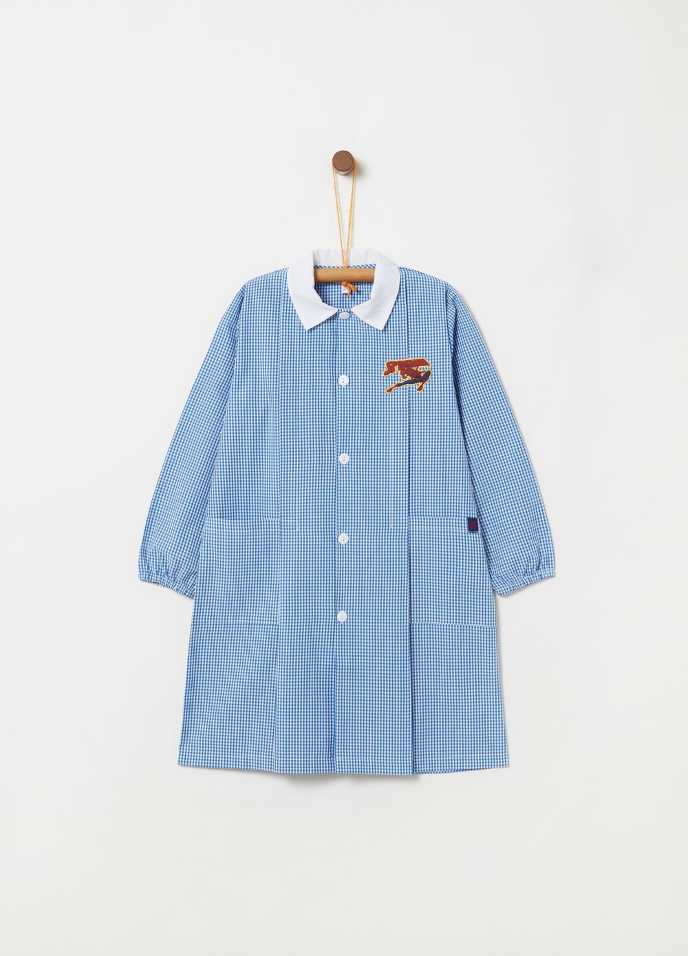 School smock with Spiderman embroidery and pattern