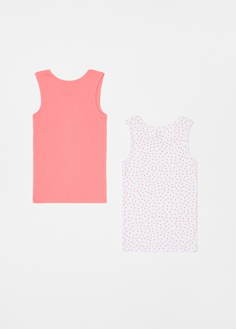 Two-pack vests in 100% cotton with polka dots image number null