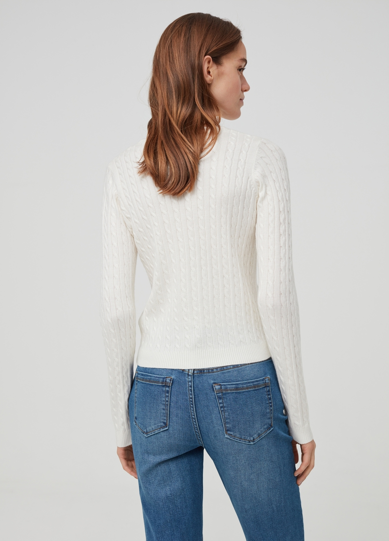 Knitted pullover with braided weave image number null