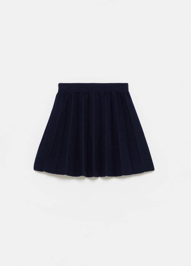 Solid colour pleated and knitted skirt image number null