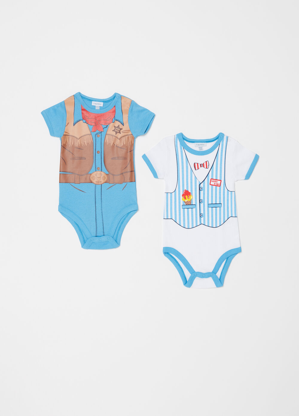 Two-pack cowboy and striped vest bodysuits