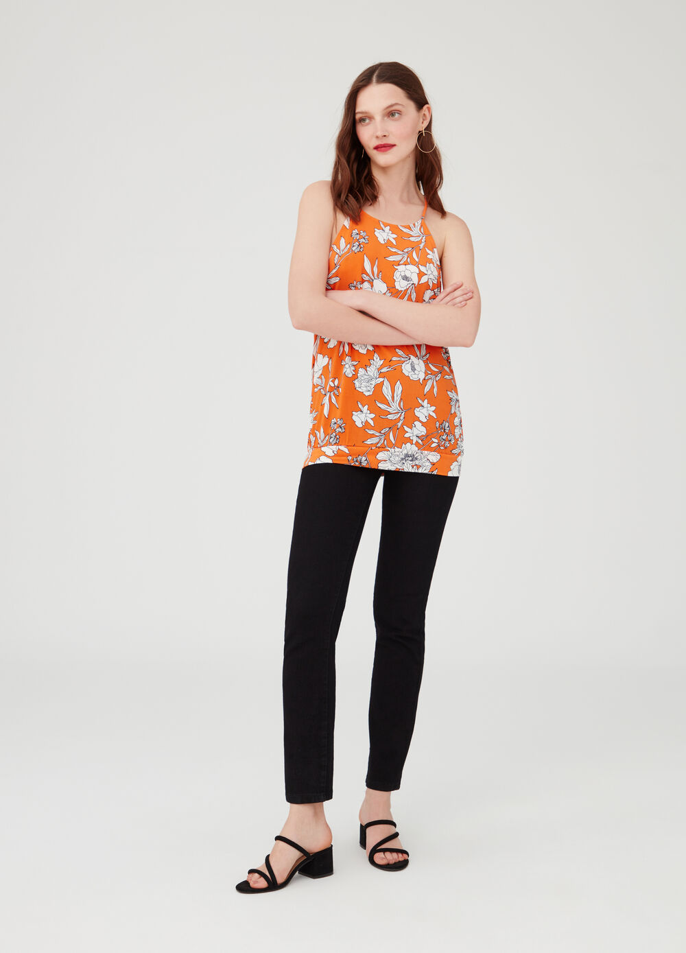 Long stretch floral tank top