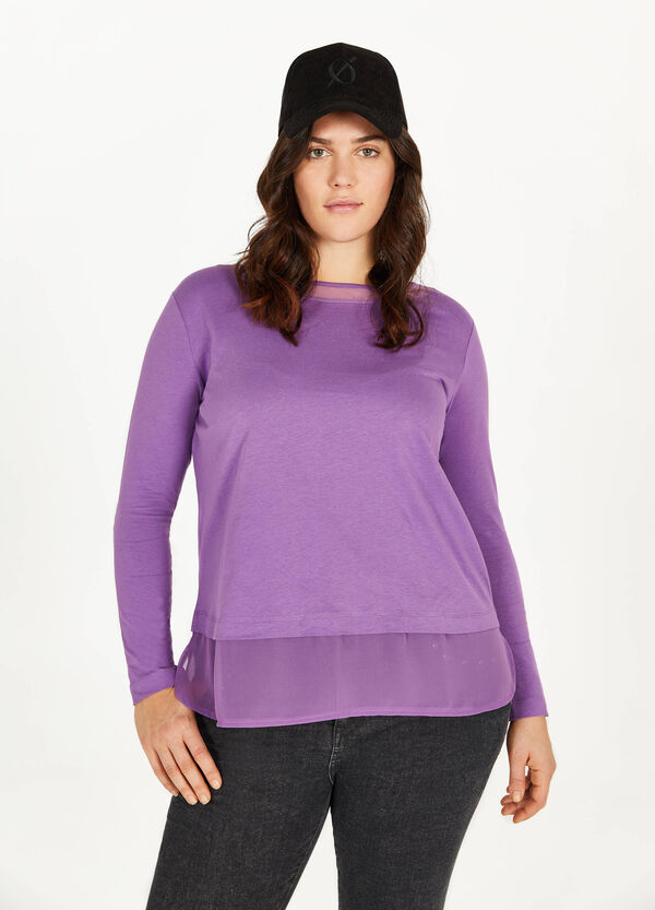 Curvy faux layered 100% cotton T-shirt
