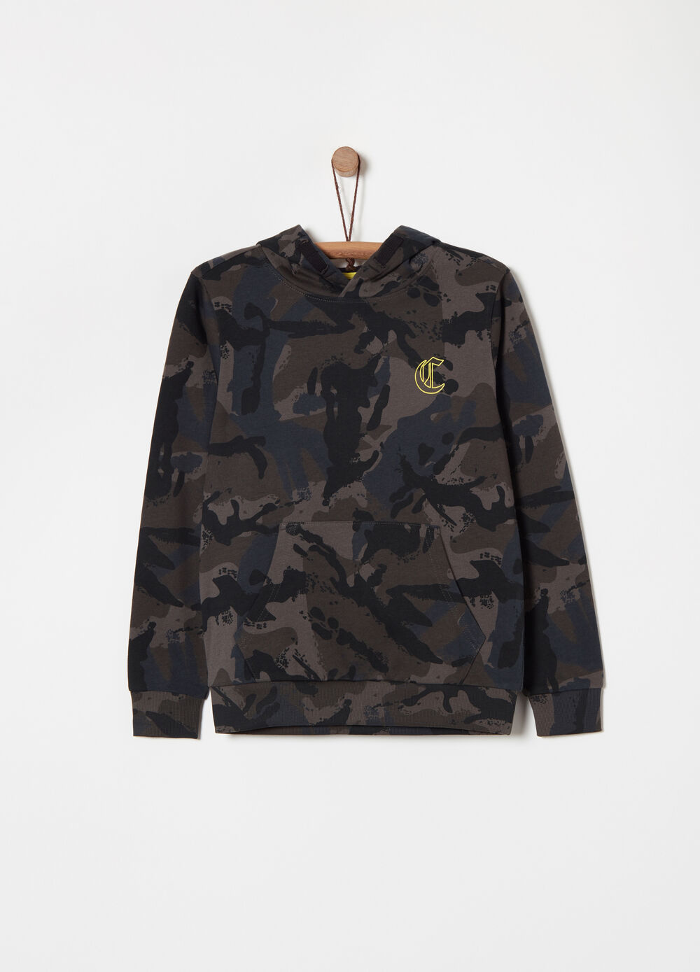 French terry camouflage sweatshirt with print
