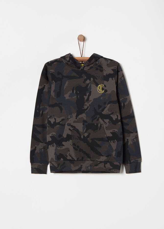 Felpa French Terry camouflage con stampa