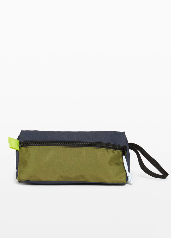 Two-tone beauty case with zip