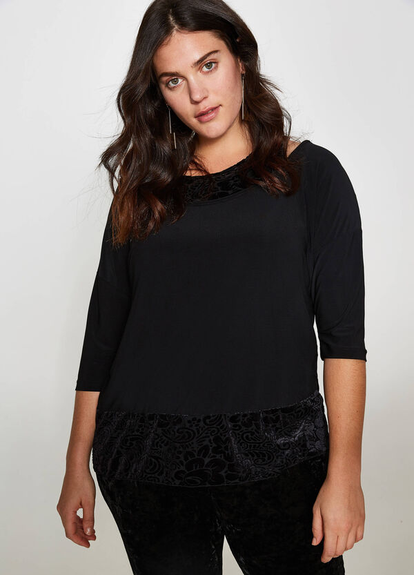 Curvy faux-layered stretch T-shirt