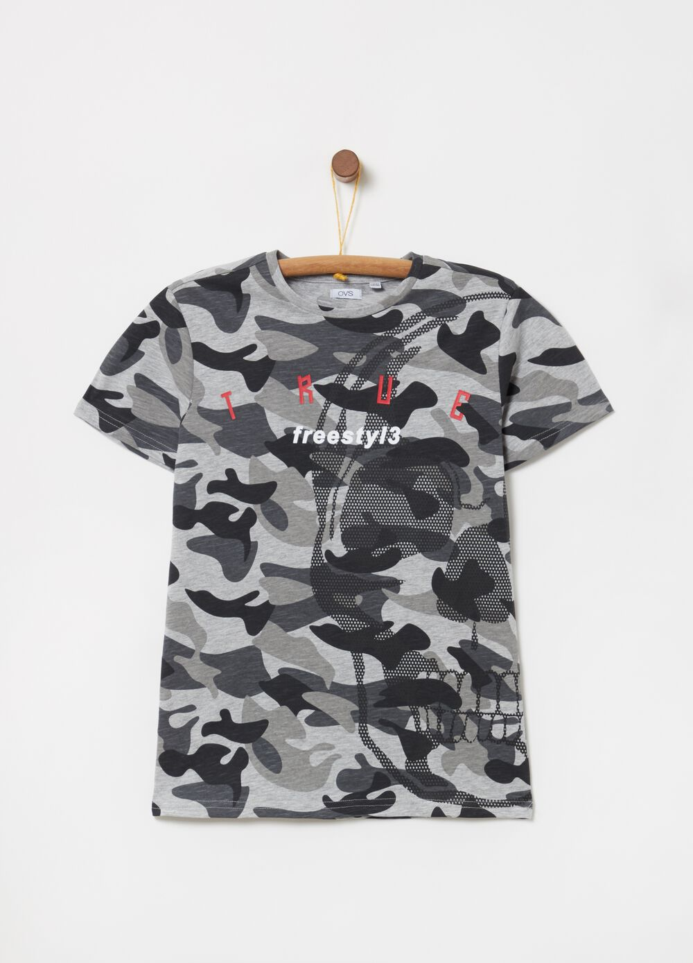 T-shirt in jersey fiammato camouflage