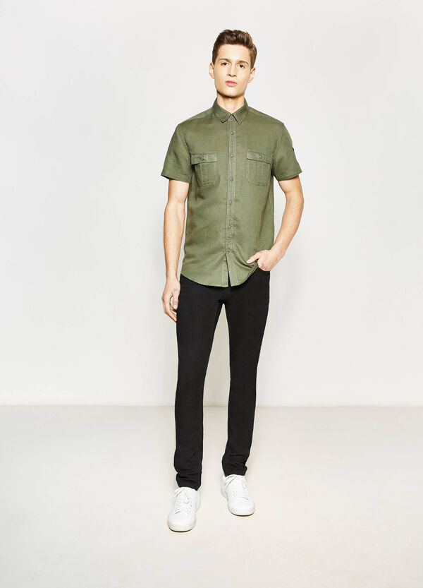Casual slim-fit shirt with pockets | OVS