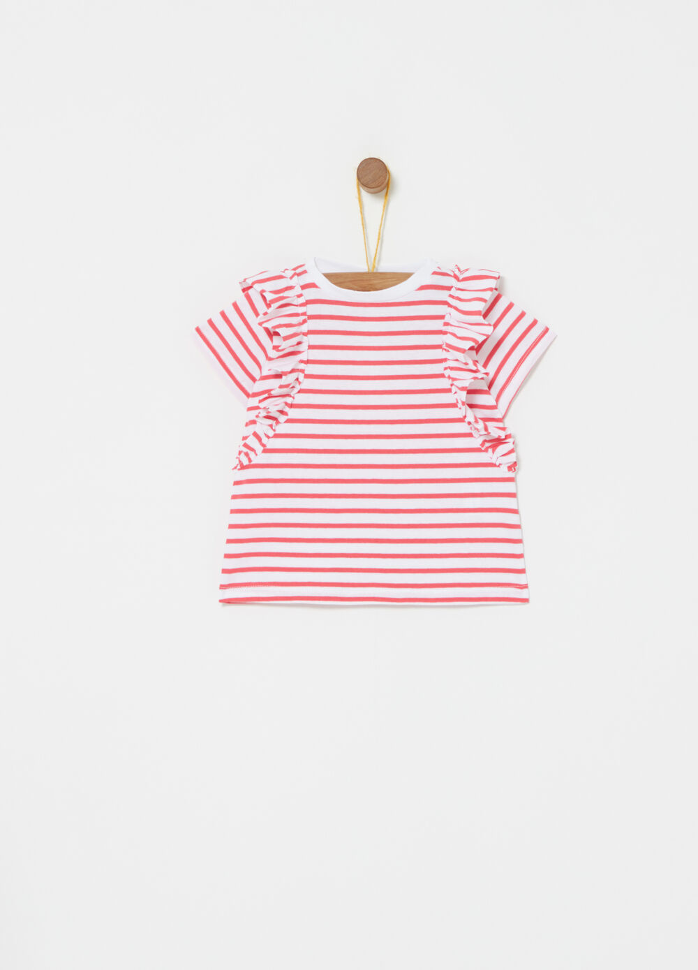 T-shirt con rouches e fantasia righe