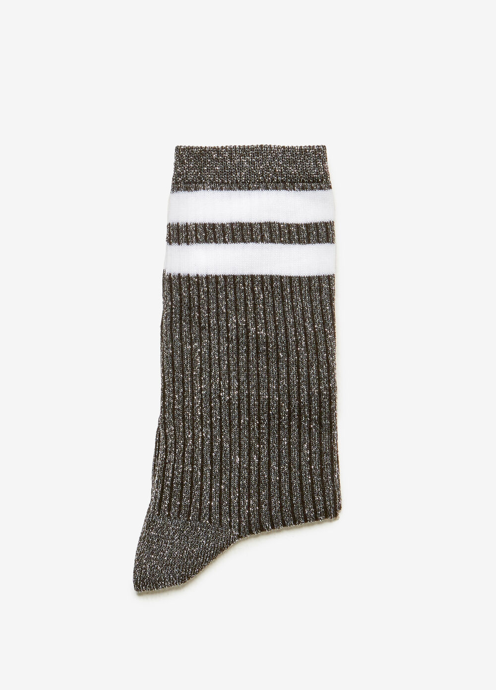 Short striped patterned socks with lurex