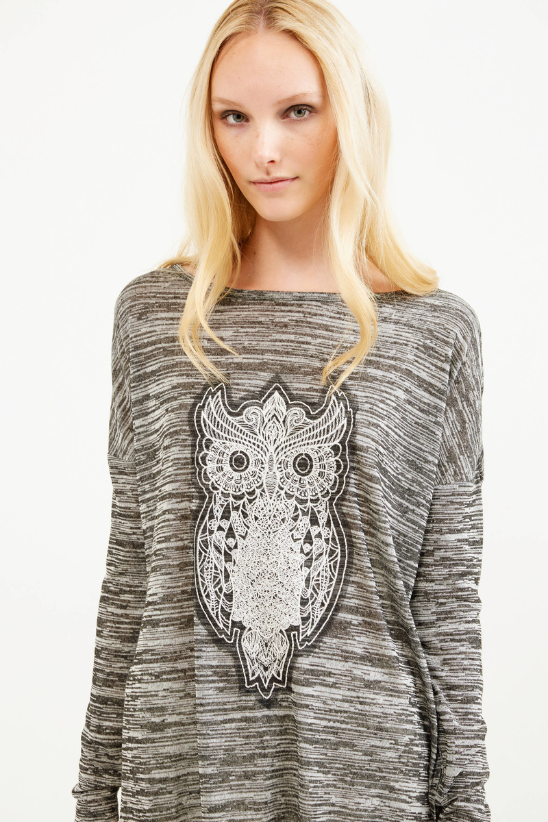 Viscose blend sweatshirt with embroidery image number null