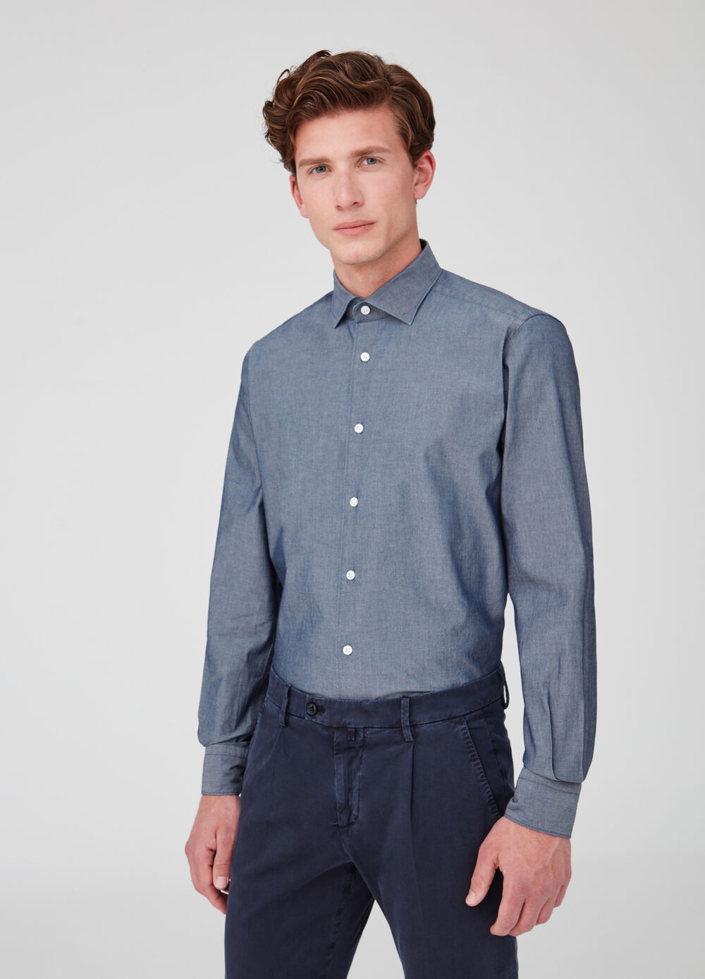Rumford cotton shirt with bluff collar