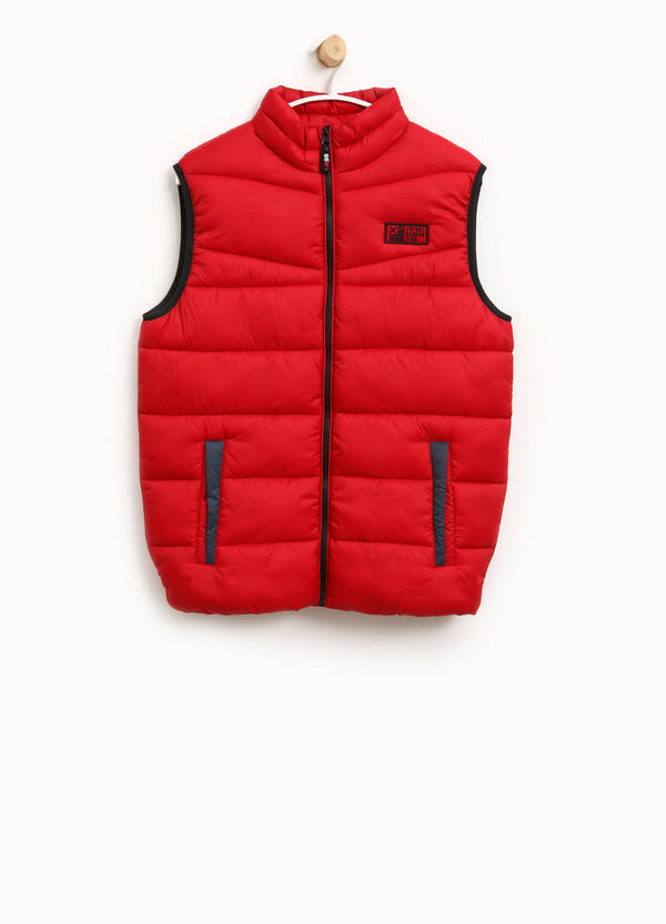 Padded gilet with patch and high collar | OVS