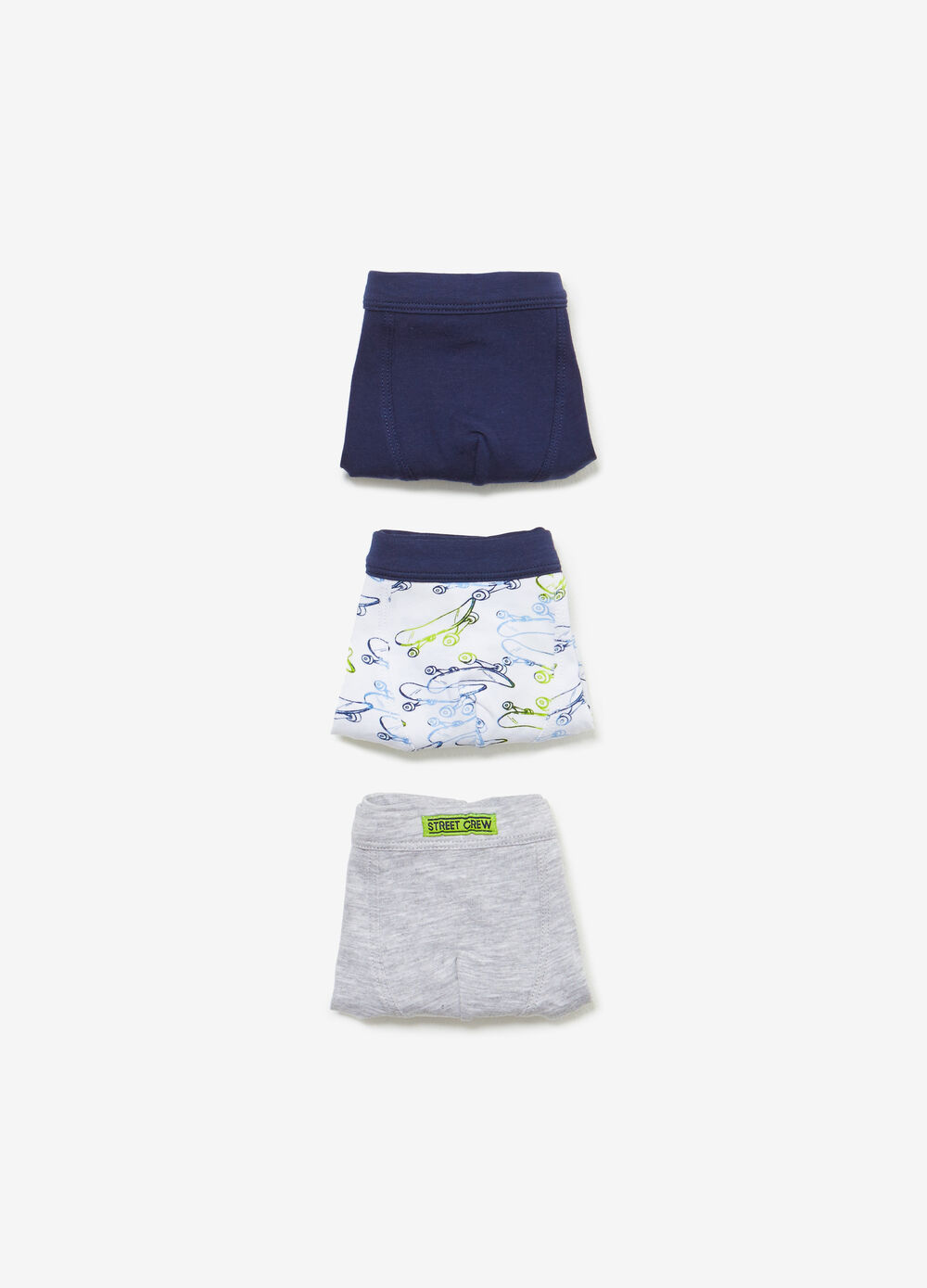 Three-pack cotton solid colour and skateboard boxers