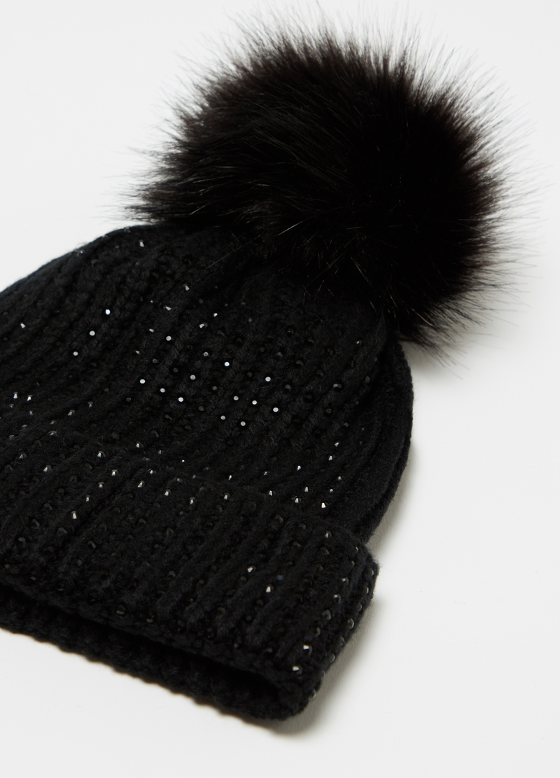 Hat with diamanté and pompom image number null