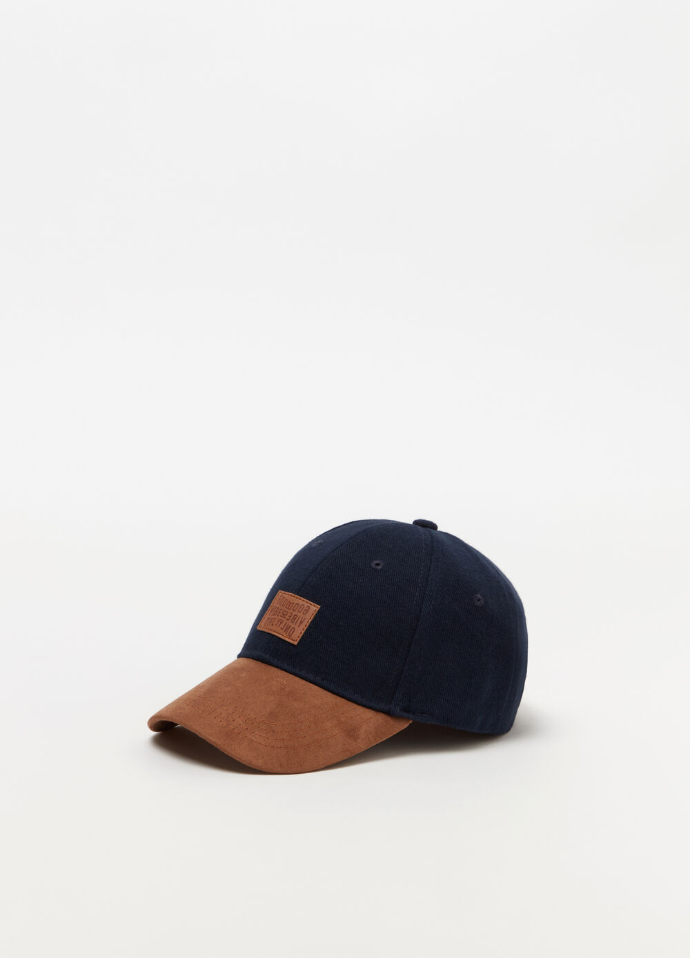Baseball cap frontino in alcantara e label