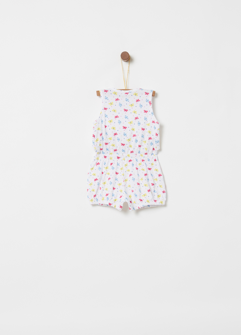 Short sleeveless onesie with patterned flounce image number null