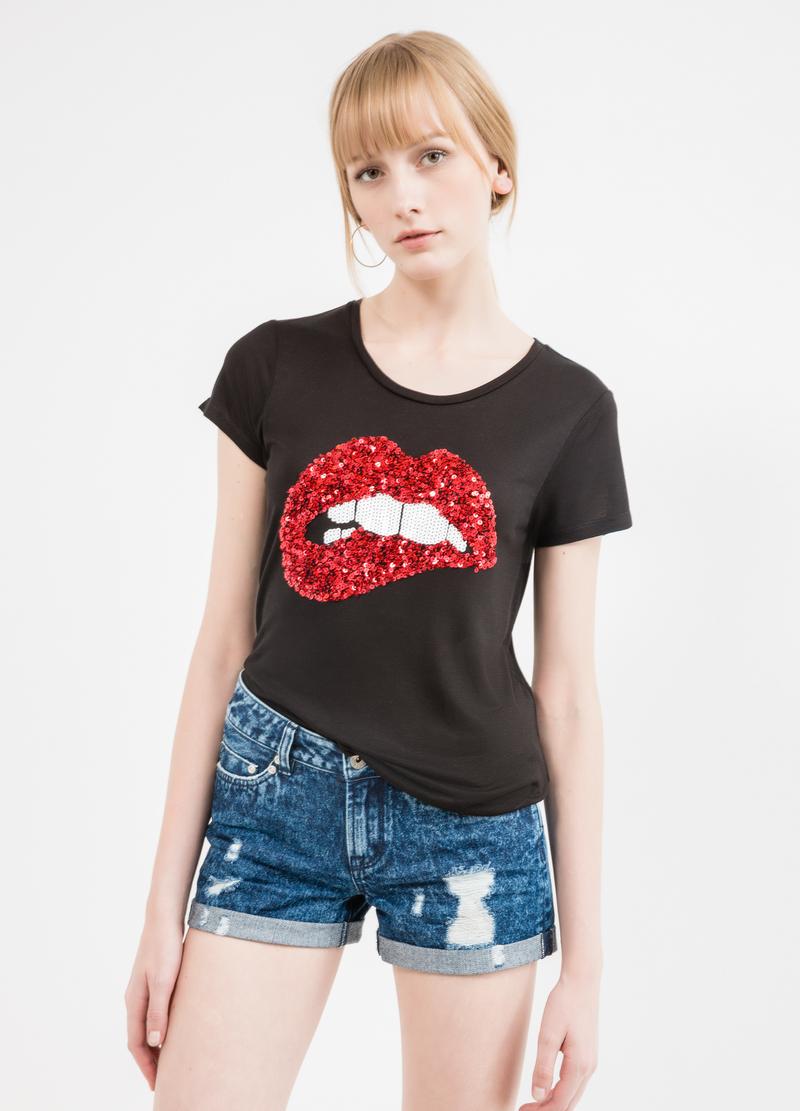 T-shirt pura viscosa con paillettes image number null