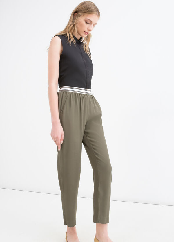 Solid colour 100% viscose trousers