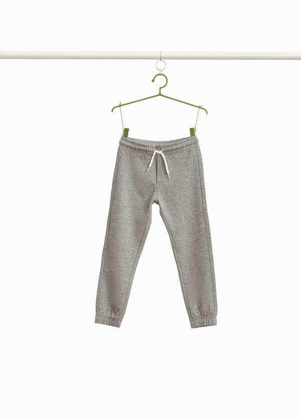 Joggers in cotton blend with drawstring