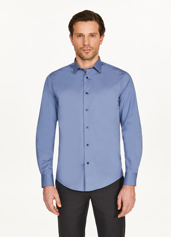 Slim-fit formal shirt in stretch cotton
