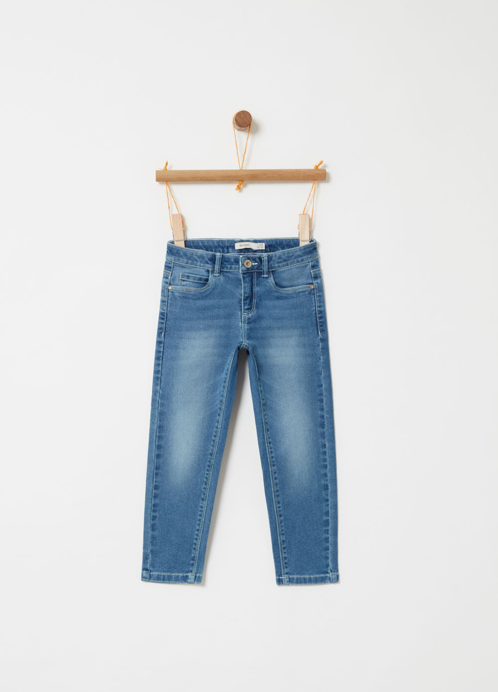 Denim skinny fit stretch effetto delavato