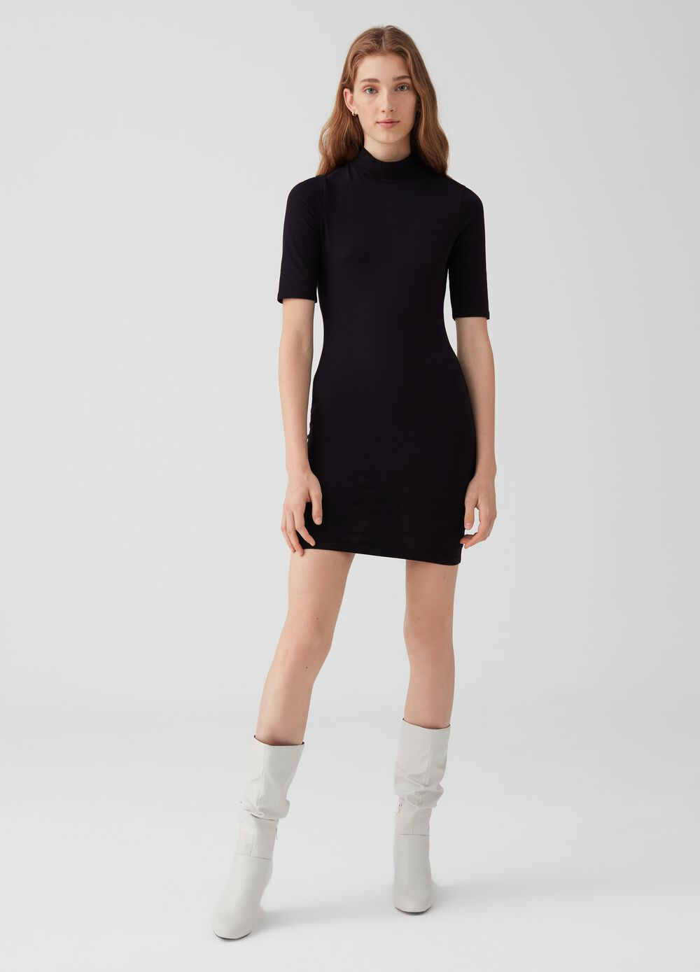 Stretch cotton short dress with high neck