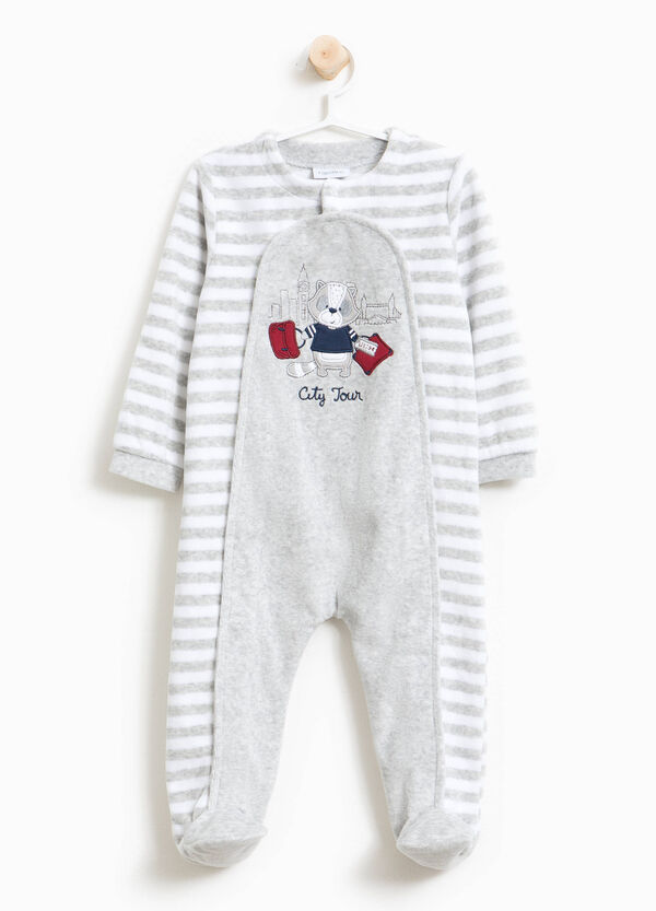 Organic cotton sleepsuit with stripes