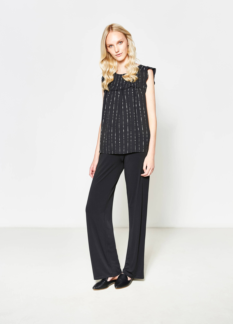 Patterned blouse with flounces image number null