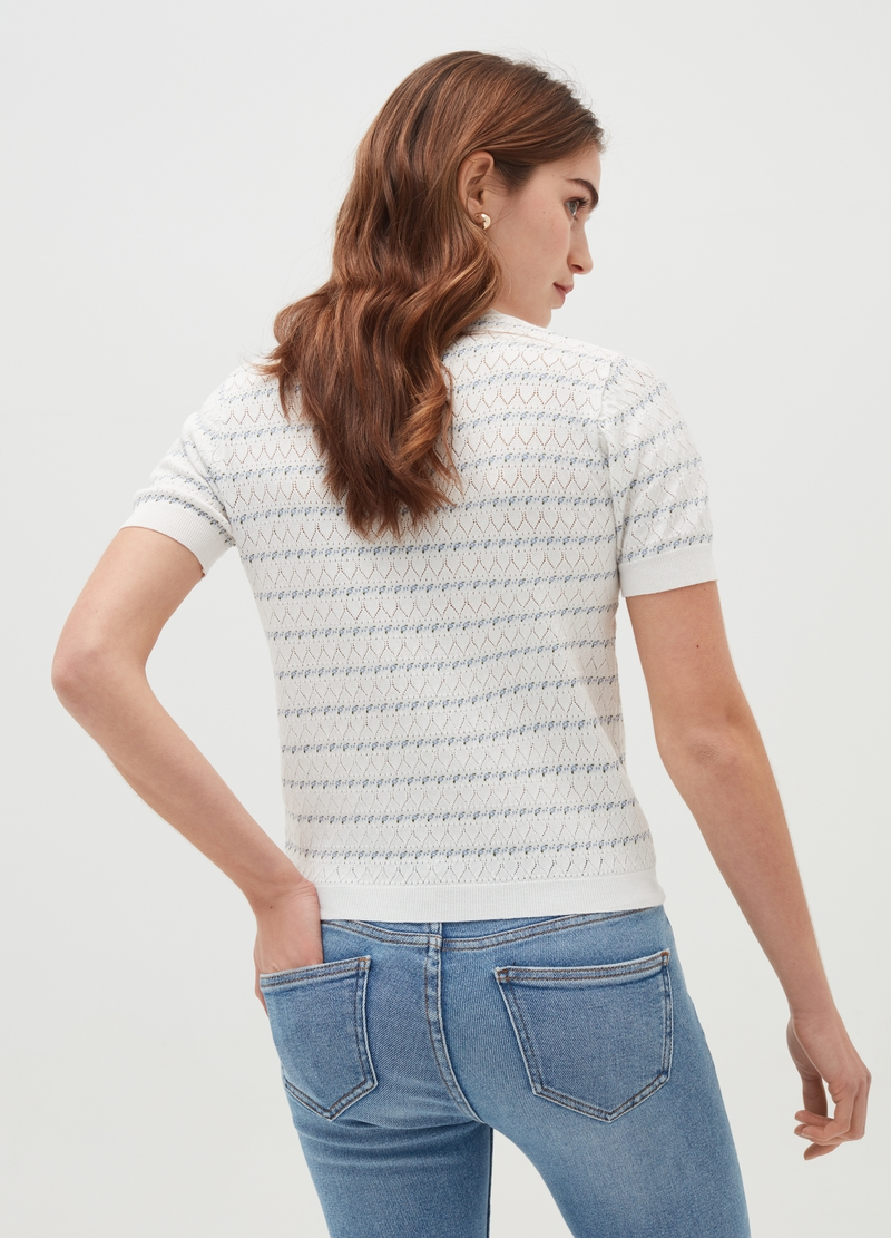 Openwork pullover with short sleeves image number null