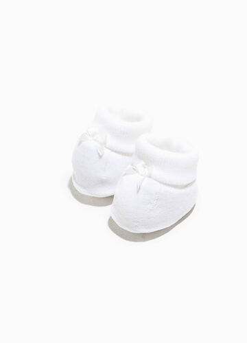 Cotton velour shoes with bow