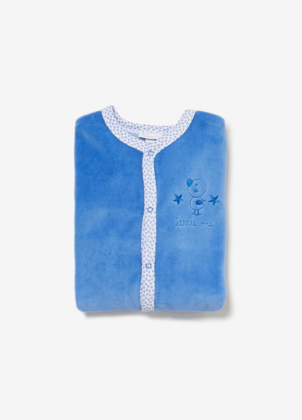 Velour sleepsuit with embroidery