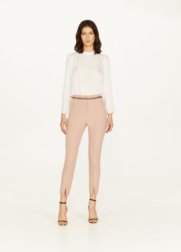 Stretch trousers with sequinned trim