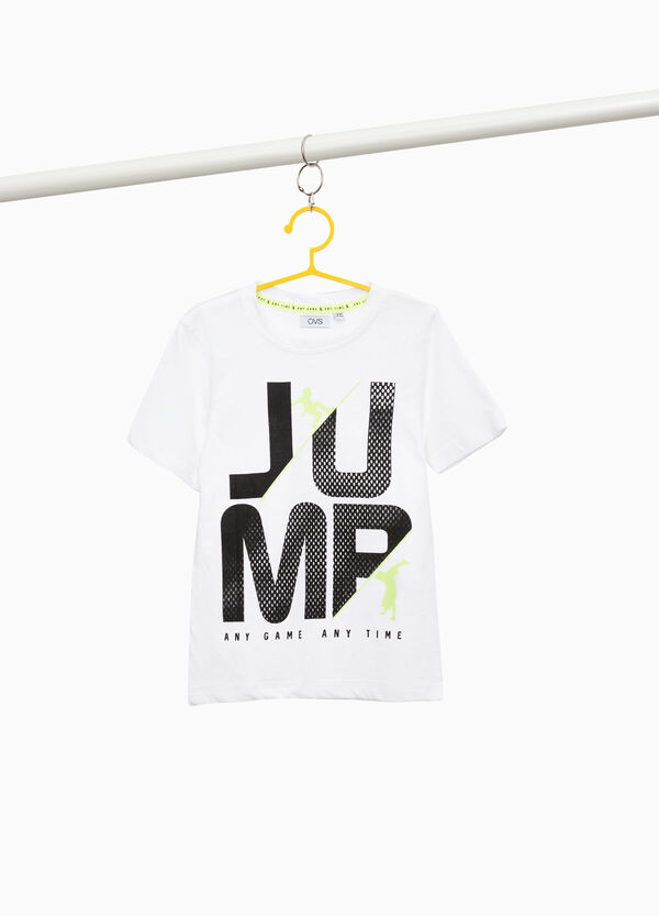T-shirt with printed lettering in cotton blend